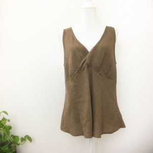 CP SHADES 100% Linen Wrap Tank Top Extra Large